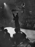 Can Can Dancer Held Up in the Air by a Performing Gentleman at the Paris Show Premium Photographic Print by Nat Farbman
