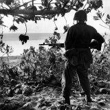 US Marine Looking at Bodies of Dead Japanese Soldiers Killed During Battle For Control of Saipan Photographic Print by W. Eugene Smith