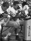 Duke Football Players Breathing Oxygen from a Bottle During the Game Photographic Print by Mark Kauffman