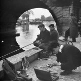 Parisians Painting and Fishing Along the Seine Photographic Print by Nat Farbman