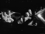 Family Sitting in Convertible Watching Movie at Drive In Premium Photographic Print by Francis Miller