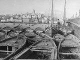 Fishing Boats Tied Up in the Golden Horn Looking Toward Galata Tower and the City Premium Photographic Print by Margaret Bourke-White