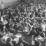 Students Eating in School Cafeteria Photographic Print by Alfred Eisenstaedt