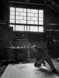 Jackson Pollock Working on a Painting Photographic Print by Martha Holmes