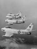 Four Us Air Force F-86 Jet Fighter Bombers on Aerial Patrol Mission Photographic Print