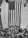 Dwight D. Eisenhower Making a Political Speech in Front of Huge American Flag Premium Photographic Print by John Dominis
