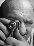 Man Looking Through Micro Camera Premium Photographic Print by Andreas Feininger