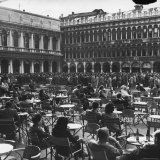 Crowd in Piazza San Marco. Tables at Cafe Florian in Foreground Photographic Print by Alfred Eisenstaedt