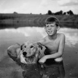 Enjoying the Pond on the Hinkle Farm, Steven Hinkle and His Dog Soak Themselves Photographic Print by Mark Kauffman
