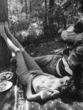 Couple Enjoying Leisurely Chat at Picnic Premium Photographic Print by Lisa Larsen