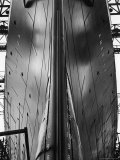 Exact Front View Looking Up at the Hull of Oceanliner, America, Showing Depth Numbers Photographic Print by Alfred Eisenstaedt