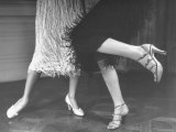 Charleston Dancers in Fringed Skirts Wearing Rhinestone Trimmed Pumps and Strapped Sandals Premium Photographic Print by Nina Leen