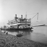 Ohio River Boat Moored at Dock on the Ohio River Photographic Print by Walker Evans