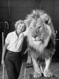 Lion Tamer Judy Allen, Standing Beside Her Beloved Lion Friend Premium Photographic Print by Loomis Dean
