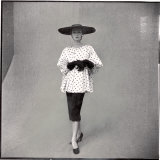 Fashion Model Showing Polka Dotted Smock Top over Black Skirt by Balenciaga Photographic Print by Gordon Parks