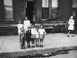 African American Children Posing on a Sidewalk in the Slums of Chicago Premium Photographic Print by Gordon Coster