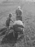 Austrian Farmer Worker and Child Going Home at the End of the Day, Molln, Austria Premium Photographic Print by Emil Otto Hoppé