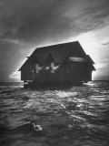 House Being Relocated by Water from Kennebunk Port to Goose Rocks Beach Premium Photographic Print by Yale Joel