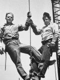 Construction Workers Standing on a Wreaking Ball Lámina fotográfica por Ralph Crane