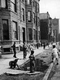 African American Children Playing on the Sidewalk in the Slums of Chicago Premium Photographic Print by Gordon Coster