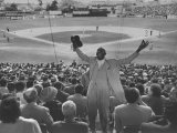 Enthusiastic Fan Cheering in Stands During Cuban Baseball Game Photographic Print by Mark Kauffman