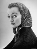 Lantern Paisley Printed Babushka Worn by a French Model, Designed by Hubert de Givenchy Premium Photographic Print by Nat Farbman