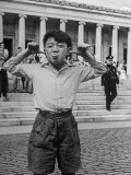 Boy Mugging For the Camera Outside the Toledo Art Museum Photographic Print by Alfred Eisenstaedt
