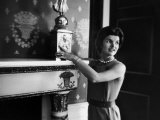 First Lady Jacqueline Kennedy Showing Off James Monroe Era Candelabrum in White House Premium Photographic Print by Ed Clark