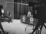 John F. Kennedy and His Wife Talking on TV Show Premium Photographic Print by Hank Walker