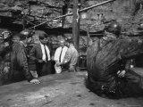 John F. Kennedy Talking to Miners Premium Photographic Print by Hank Walker