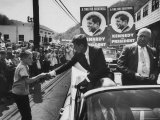 John F. Kennedy and Ward Wylie Campaigning in Kermit, Mingo County Premium Photographic Print by Hank Walker