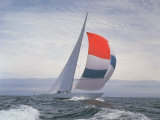 12-m. Yacht Nefertiti, Designed by Ted Hood, Sailing Through Waves at Pre America's Cup Test Run Premium Photographic Print by George Silk