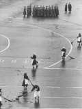Cleaners Sweeping During the Anniversary Parade in Red Square Premium Photographic Print by James Whitmore