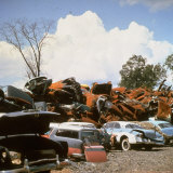 Pile of Rusting Cars in Automobile Junkyard Photographic Print by Walker Evans