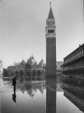 Flooded Piazza San Marco with St. Mark's Church in the Background Premium Photographic Print by Dmitri Kessel