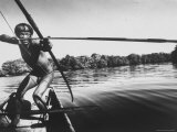 Brazilian Indian Fishing with a Bow and Arrow Premium Photographic Print by Stan Wayman