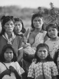 Family of Guarani Indian Women with Mother Breast Feeding an Infant, Photographic Print