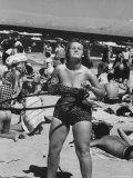 Girl Hula Hooping on Beach Premium Photographic Print by Stan Wayman