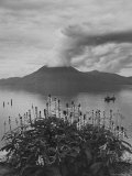 Panorama of Lake Atitlan with Volcano Smoking in Background Premium Photographic Print by Cornell Capa