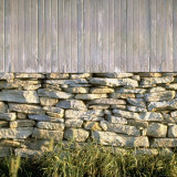Dry Masonry Foundation under Old Barn is Good Example of Early American Stonework Photographic Print by Walker Evans