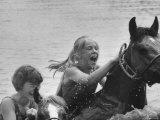 Jane Boleyn and Sydney Hoyle Riding at Full Cry Farm Premium Photographic Print by Art Rickerby