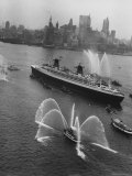 Fireboats Greeting the SS France, as It Enters the New York Harbor on Its Maiden Voyage Photographic Print by Ralph Morse