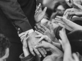 Senator Robert F. Kennedy Shaking Hands with Admirers During Campaigning Photographic Print by Bill Eppridge