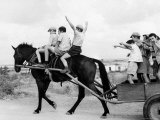 Israeli Children of Habad Sect, Frolic with Horse and Cart at Farm Village Premium Photographic Print by Paul Schutzer