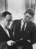 President John F. Kennedy and Arthur Schlesinger at the White House Premium Photographic Print by Art Rickerby