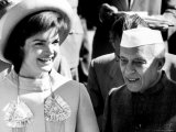 Jawaharlal Nehru with Mrs. John F. Kennedy During Her India Visit Premium Photographic Print by Art Rickerby