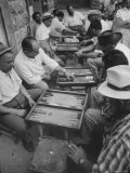 Israeli Men Playing Backgammon Premium Photographic Print by Paul Schutzer