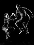 Professional Dancers Willa Mae Ricker and Leon James Show Off the Lindy Hop Lámina fotográfica por Gjon Mili