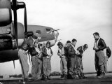B-17 Flying Fortress Crew of 8th Bomber Command Donning Their Flying Gear Upon Arrival by Jeep Premium Photographic Print by Margaret Bourke-White