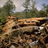 Pile of Rusted Car Shells in an Automobile Junkyard Photographic Print by Walker Evans